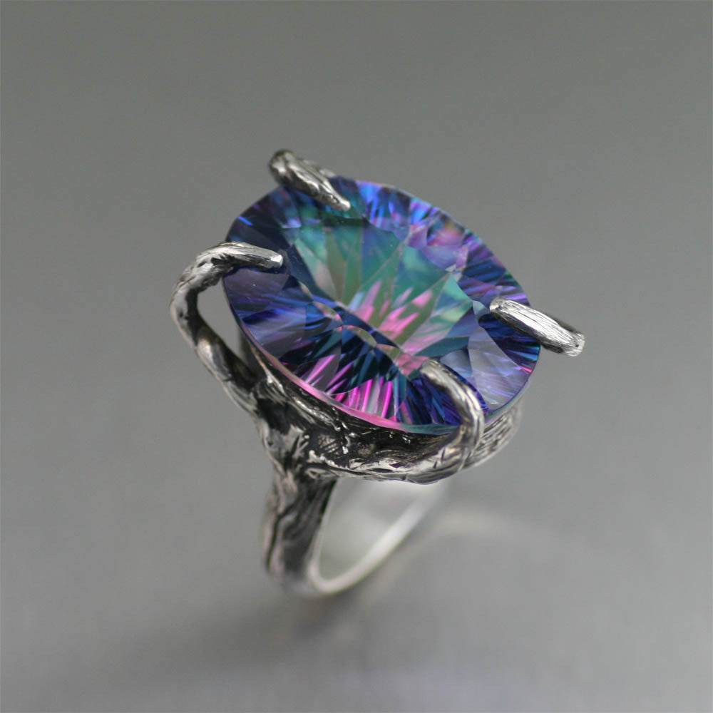 18.5 ct Cushion Cut Mystic Quartz Sterling Silver Cocktail Ring