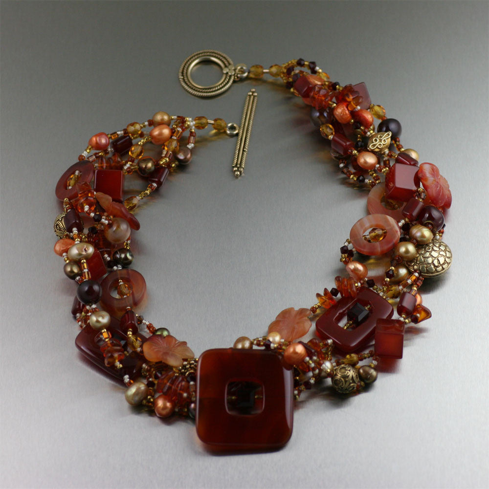 Carnelian Necklace and Sunstone Bronze Ring Featured on Polyvore