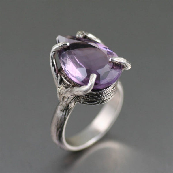11 ct Pear Cut Amethyst Sterling Silver Cocktail Ring