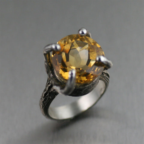 13 CT Citrine Sterling Silver Tree Branch Cocktail Ring