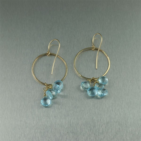 14K Hammered Gold Earrings with Blue Topaz