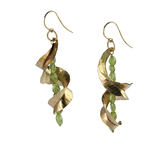 14K Gold Fold Formed Earrings with Facted Peridot Gemstones