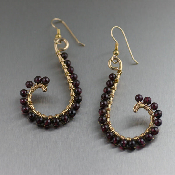Garnet Wire Wrapped 14K Gold-filled Earrings
