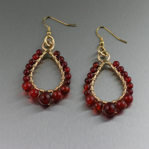 14k Gold-Filled Wire Wrapped Carnelian Tear Drop Earrings