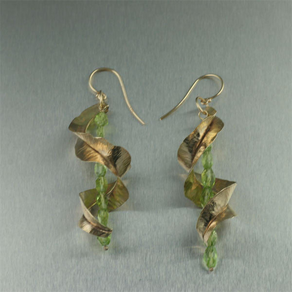 14K Gold Fold Formed Leaf Earrings with Peridot