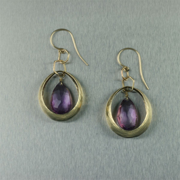 14K Gold Synclastic Earrings with Amethyst