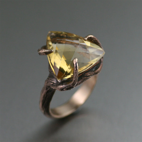 Bronze Tree Branch Ring with Trillion Cut Citrine - Handmade Jewelry by John S Brana