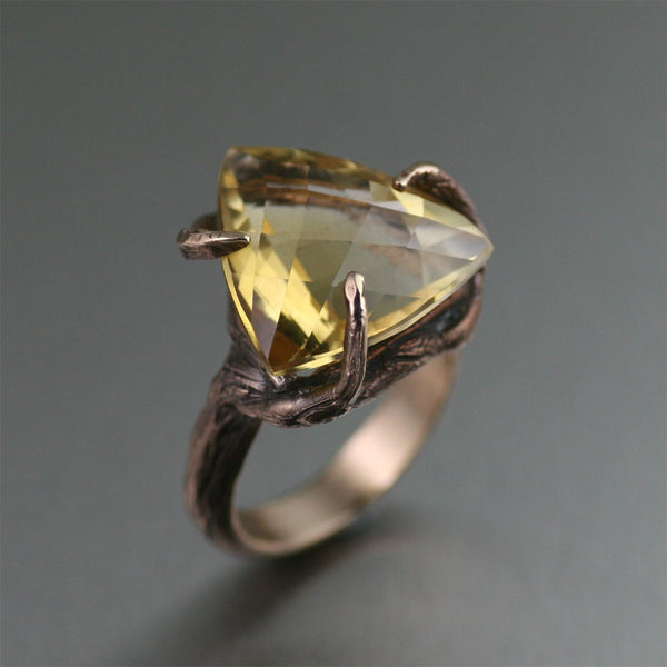 Bronze Tree Branch Ring with Trillion Cut Citrine - MWR675-3 Handmade Jewelry by John S Brana