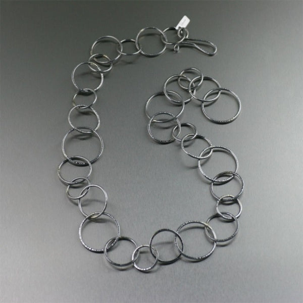 22-inch Chased Stainless Steel Link Necklace