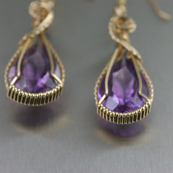 24 CT Amethyst 14K Gold-filled Drop Earrings