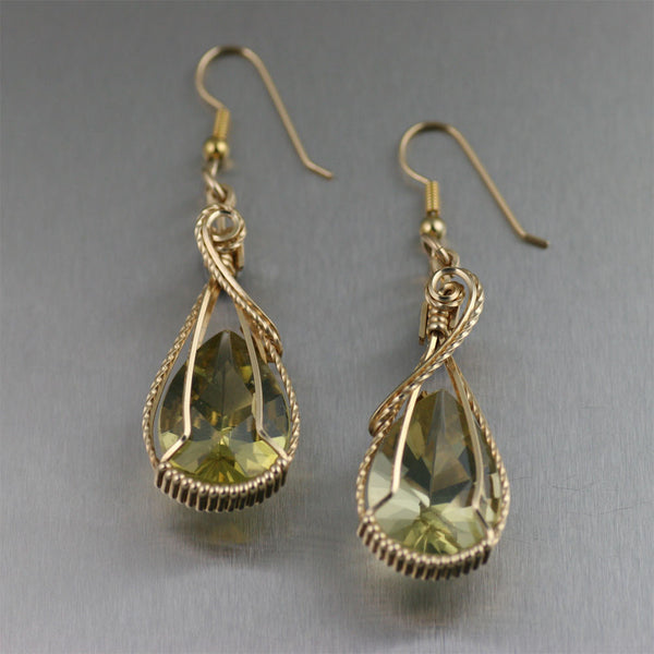 32 CT Green Gold Quartz 14K Gold-Filled Earrings