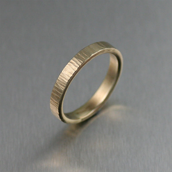 3mm Chased 14K Gold Band Ring