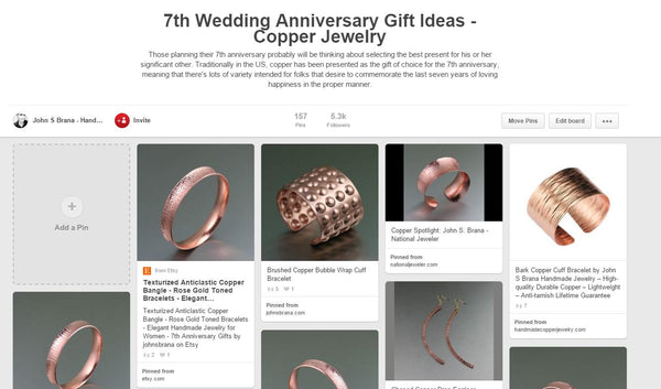 Example of a themed Pinterest Pinboard 7th Wedding Anniversary Gift Ideas