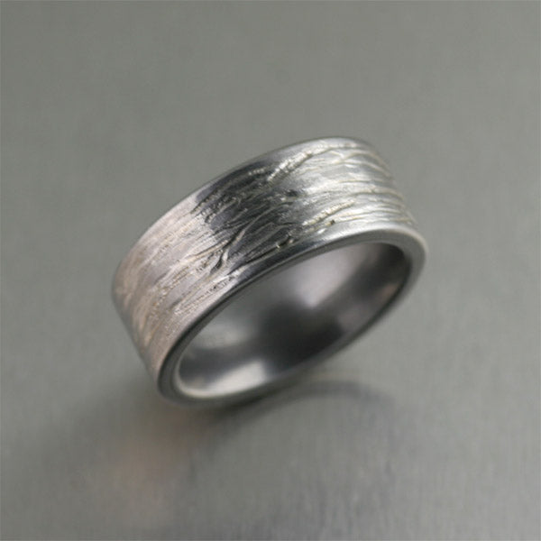 Handmade Stainless Steel Mens Band Ring with Bark Texture