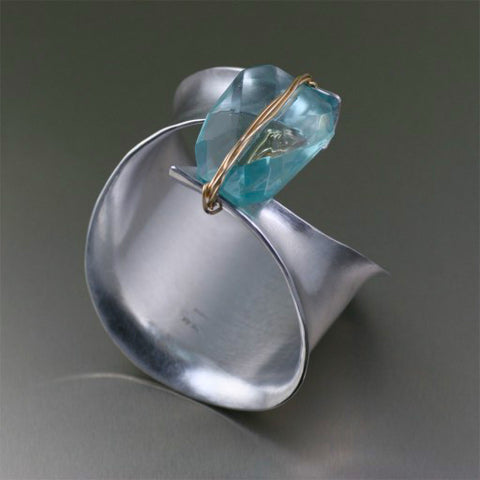 Aluminum Anticlastic Bangle with Blue Quartz Gemstone Focal Bead