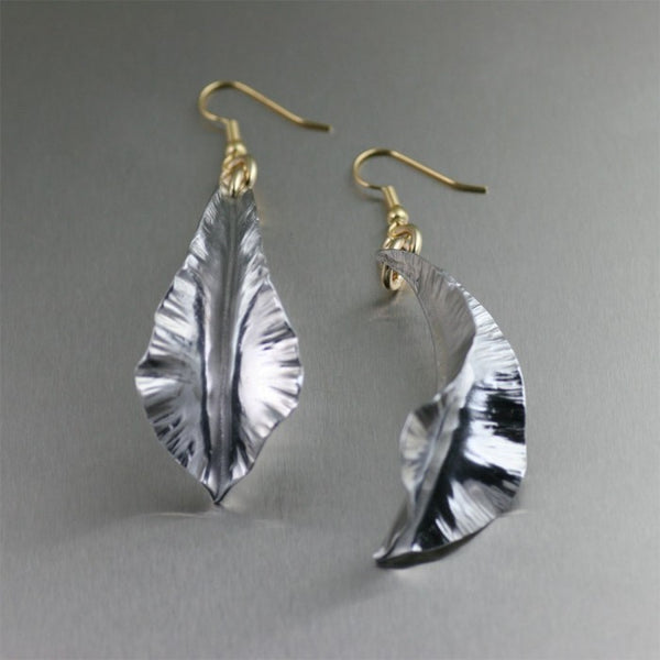 Aluminum Fold Formed Leaf Drop Earrings