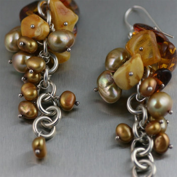 Detailed Close-up of Amber Handmade Sterling Silver Grape Drop Earrings