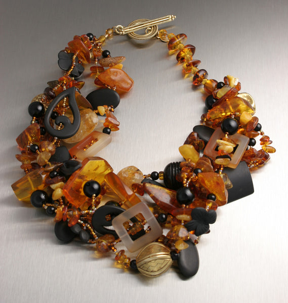 Amber and Onyx Beaded Gemstone Necklace