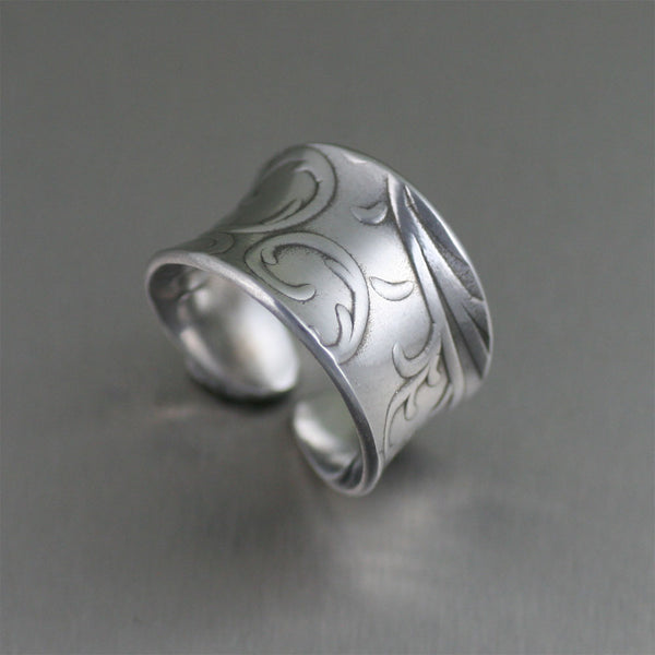 Anticlastic Aluminum Ring with Embossed Vines – Left View
