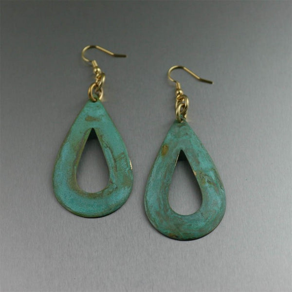 Apple Green Patinated Earrings