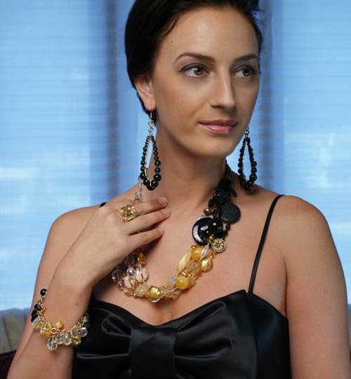 Barbary Coast Collection - Onyx Earrings and Amber, Crystal Quartz, and Onyx Necklace by San Francisco jewelry designer John S Brana