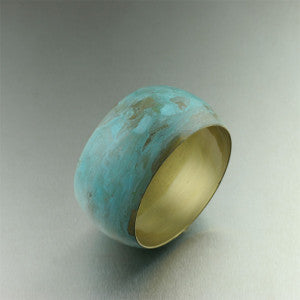 Handmade Brass Turquoise Patinated Bangle