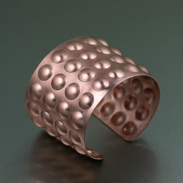 Brushed Copper Bubble Wrap Cuff – Left Side View