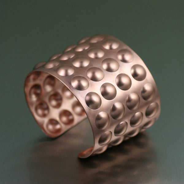 Brushed Copper Bubble Wrap Cuff – Right Side View