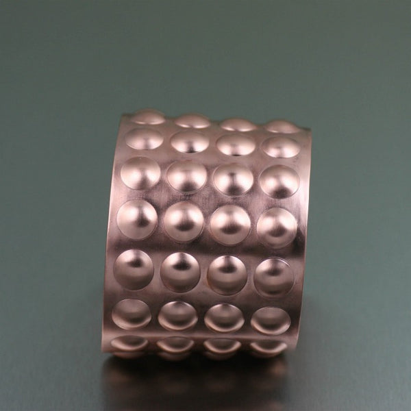 Brushed Copper Bubble Wrap Cuff – Side View
