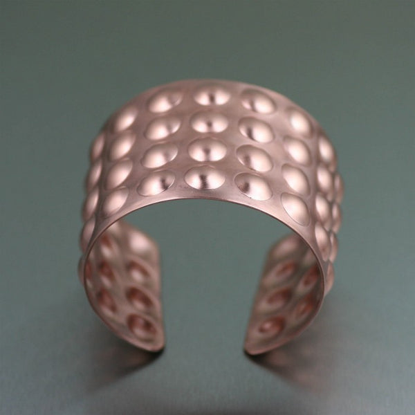 Brushed Copper Bubble Wrap Cuff – Top View