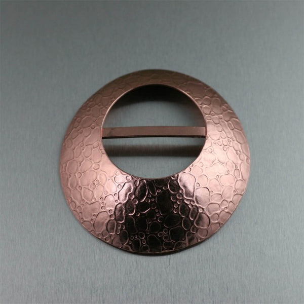 Bubble Embossed Copper Scarf Ring