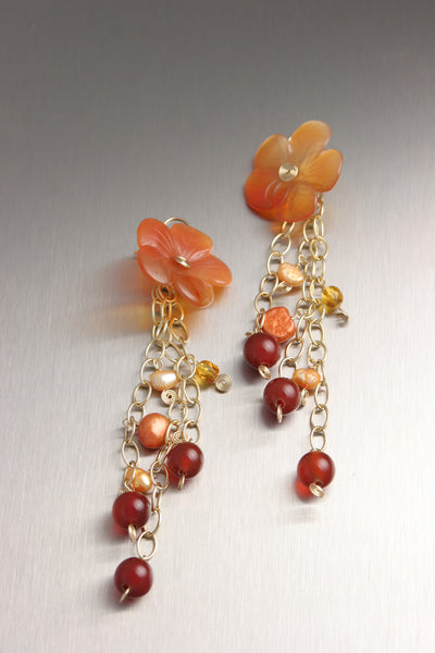 Carnelian Flower Beaded Gemstone Earrings