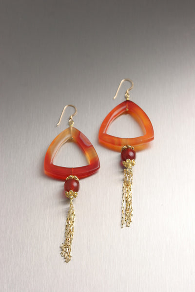 Triangular Carnelian Earrings with 18K Gold Tassels
