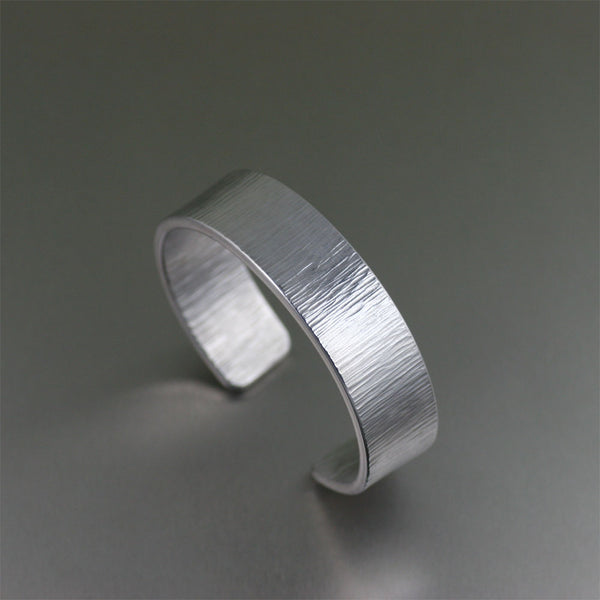Chased Aluminum Unisex Cuff Bracelet – Left View