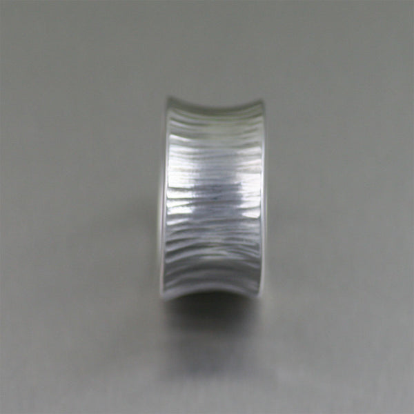 Chased Anticlastic Aluminum Band Ring – Side View