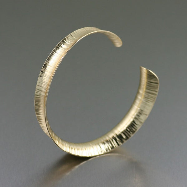 Chased Nu Gold Brass Anticlastic Bangle