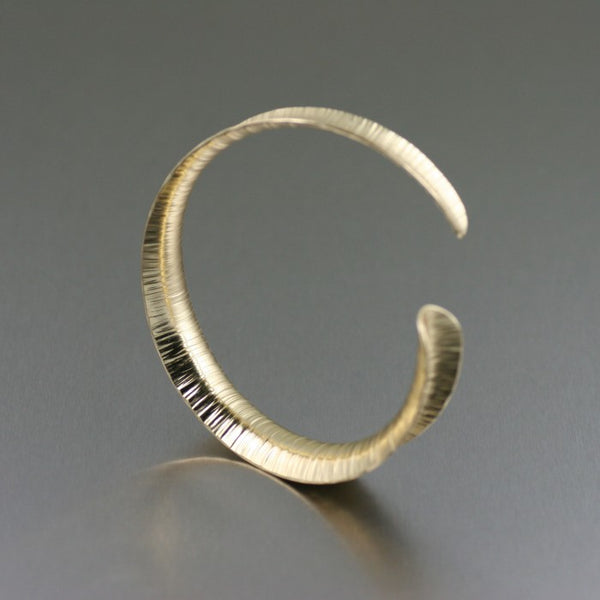 Chased Nu Gold Brass Anticlastic Bangle – Right View