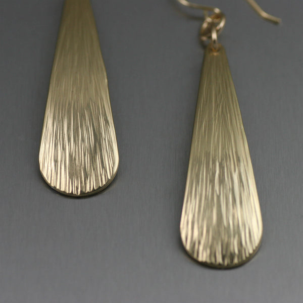 Chased Nu Gold Brass Long Tear Drop Earrings- Detail