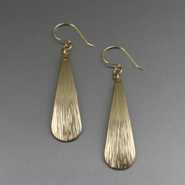 Chased Nu Gold Brass Long Tear Drop Earrings