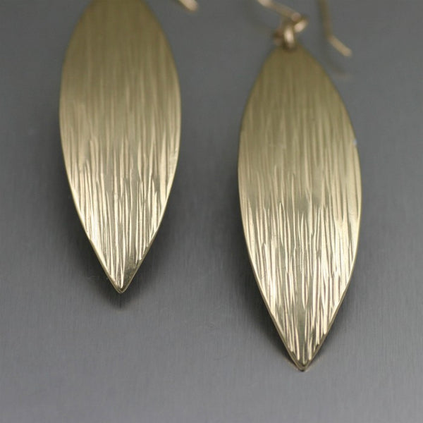 Chased Nu Gold Brass Medium Leaf Earrings – Detail
