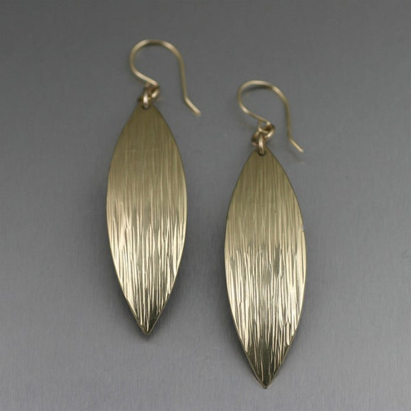 Chased Nu Gold Brass Medium Leaf Earrings