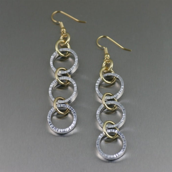 Chased Three-tiered Aluminum Dangle Earrings