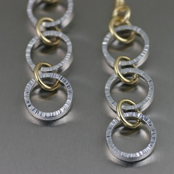 Chased Three-tiered Aluminum Dangle Earrings – Detail