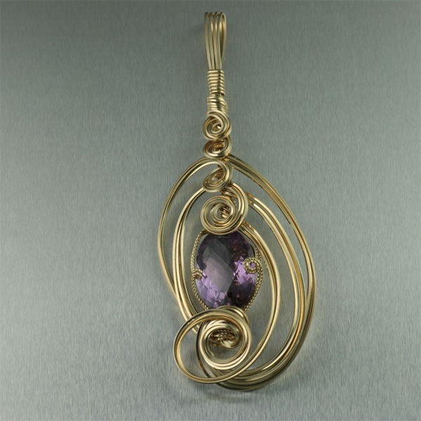 Checkerboard Cut Amethyst 14K Gold-filled Pendant