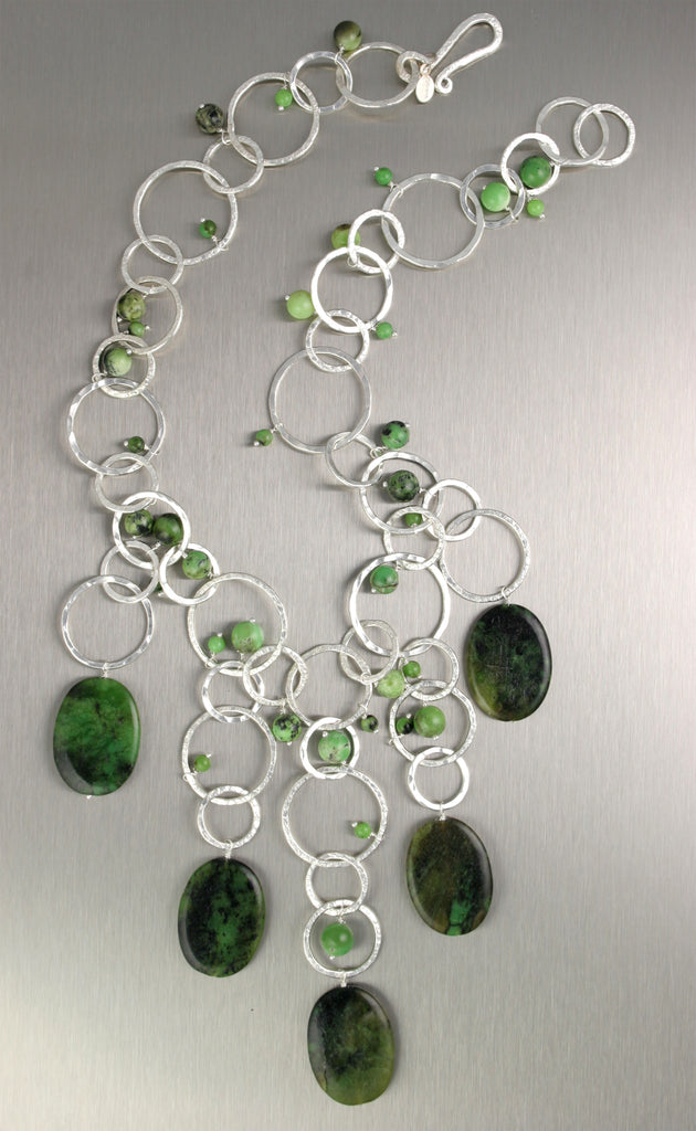 Hammered Fine Silver Necklace with Chrysoprase