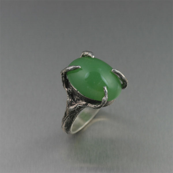 Sterling Silver Tree Branch Ring with Chrysoprase Cabochon