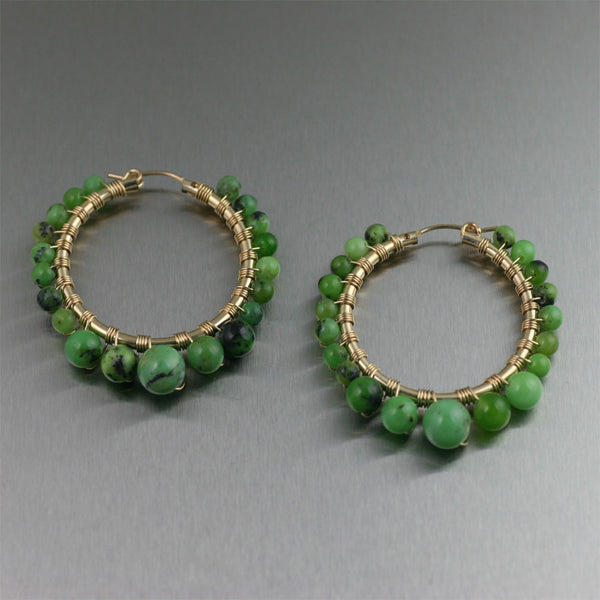 Chrysoprase Wire Wrapped 14K Gold-filled Hoop Earrings