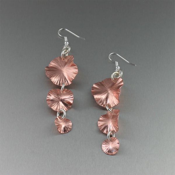 Three Tiered Lily Pad Copper Earrings