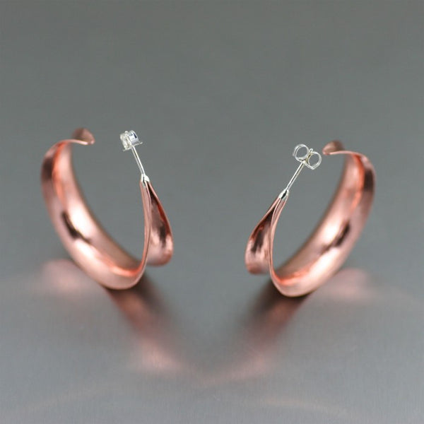 Copper Anticlastic Bark Post Hoop Earrings – Front View 2