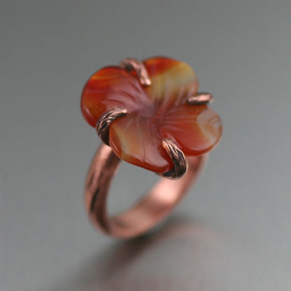 Copper Carnelian Dogwood Ring